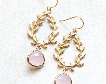 Pale Pink Glass Earrings Bridesmaids Gift Gold Bridal Jewelry Leaf Branch Dangle Earrings Pastel Pink Drop Laurel Wreath Chandelier Earring