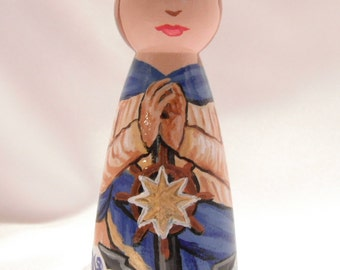 Stella Maris, Our Lady Star of the Sea - Catholic Wooden Peg Doll Toy -  made to order