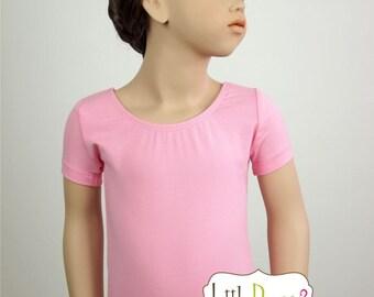 Bubble Gum Pink Leotard-Ballet Short Sleeve Leotard (Children's)