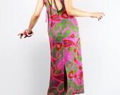 Vintage 60s Retro Mod COLUMN Dress Psychedelic Paisley OPEN Cut-out BACK // Vintage Clothing by TatiTati Style on Etsy