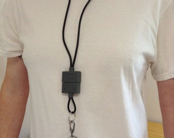 Nintendo Super NES Lanyard with key Chain Upcycled Real Video Game Plug