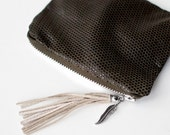 SALE Stamped Khaki Leather Coin Purse tassel feather boho No. CP-1007