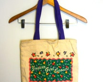 ... Junior Girl Scouts floral pink and teal tote bag / 90s market tote