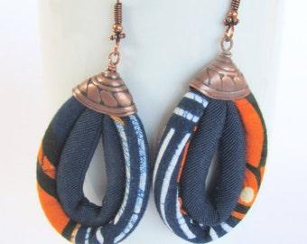 blue and orange earrings/ fabric earrings/ dangling earrings