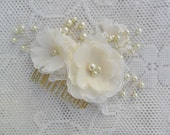 Wedding Hair Accessory,Gold Bridal Hair Piece,Gold & Pearl Hair Comb,Wedding Hair Flower,Bridal Hair Comb,Lace Hair Comb,Gold/ Silver Finish