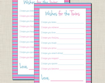 Wishes for Twins Baby Shower Game for Boy/Girl Twins in Blue and Pink