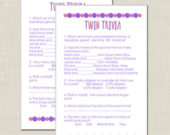 twin trivia baby shower game for girl twins in purple and pink