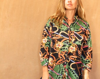 versace style 90s abstract SURF slouchy WILD baroque oversize blouse shirt