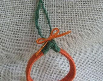 Orange Pumpkin Ornament / Jute Twine Tree Ornament / Rustic Fall Pumpkin / Autumn Decor / Cabinet Knob Decoration
