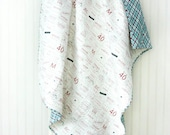 Feed Company Baby Quilt - Crib Quilt - Small Lap Quilt - Whole Cloth Quilt - READY TO SHIP