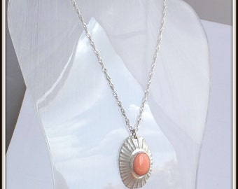 OOAK Fine silver Shell Pendant Natural Coral Sterling silver Chain