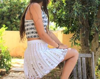 White lace skirt Crochet lace skirt  Crochet skirt White beach skirt Bohemian Summer Skirt Beach cover up Girl Lace Skirt women  skirt