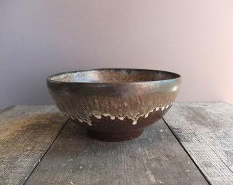 Vintage Studio Pottery Stoneware Bowl / Large Pottery Bowl