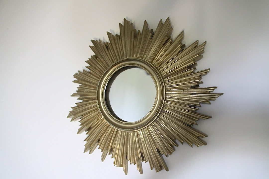 Vintage French Gold Sunburst Mirror Mid Century Starburst