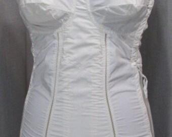 Vintage 1950s Full Body Corset/ Girdle Bestform #7118 White Nylon Side Closure Stocking Garters 32A Vintage Lingerie