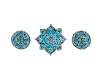 Art for Bathroom // Ceramic tiles // Bathroom Wall Art // Bathroom decor // Set of 3 tiles (varios sizes) // Mandala // Turquoise