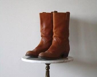 Campus Boots - Men's 10 10.5 - Leather Brown Orange - 1970s VINTAGE