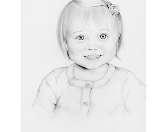 Kids Portrait Custom Pencil Portrait of your Child Son or Daughter Gift for Mom, Wife Personalized Gift Hand Drawn Pencil Portrait Fine Art