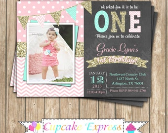 One First Birthday girl coral pink  mint gold PRINTABLE chalkboard Invitation #8  chevron polka dot glitter 1st birthday - 1031