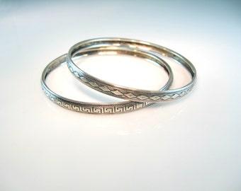 Danecraft Bracelets. Sterling Silver Bangle Pair. Greek Key & Diamond Patterns. Stacking Bangles. 1940s Vintage Jewelry.