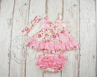 floral swing top set, baby girl outfit, toddler girl outfits, summer clothes, shabby chic birthday outfit,baby dress, Diaper cover set