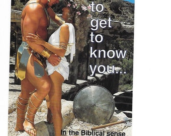 1980s I'd Like to get to know you in the Biblical Sense Vintage Photo Postcard