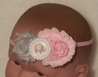 Elephant Headband or Hair Clip / Pink & Gray / Shabby Flowers / Photo Prop / Birthday / Infant / Baby / Girl / Toddler / Boutique Clothing