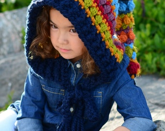 CROCHET PATTERN - Bohemian Nights Hoodie - chunky crochet pixie hood pattern boho fairy hood (Child, Adult sizes) - Instant PDF Download
