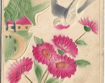 Blue Birds or Swallows Flying over Country Cottage with Pink Daisies Vintage Novelty Postcard Heavily Embossed Airbrushed