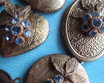 Vintage Assorted Lockets With Sapphire Swarovski Flower