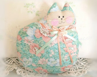 Cat Doll Pillow Cloth Doll 7 inch, Soft Green, Blue and Peach Floral, Primitive Soft Sculpture Handmade CharlotteStyle Decorative Folk Art