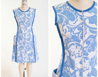 60s Vintage Day Dress • Flourishing Bloom • Blue White Paisley Print 1960s Vintage Zip Front Dress Size Small