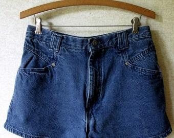 Dark Denim Jean Shorts high waisted shorts hot pants vintage 90s 1990s daisy dukes women medium Bonjour