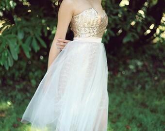 Short Blush Sequin Dress, Tulle Skirt,  Bridesmaid Dress, Short Wedding Dress, Modern Simple Wedding Gown, Eco Friendly, Made to Order
