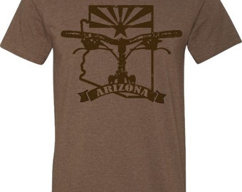 Mountain Bike T-shirt-BIKE ARIZONA-Bicycle T-shirt in Heather Brown-Bike Gift,Gifts for Cyclists,Southwest,Road bike tee,gifts for him