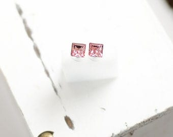 Princess Cut Crystal Earrings | Square Stud Earrings | Pink Minimalist
