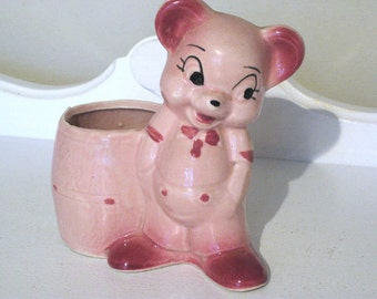 Vintage Planter - Pink Bashful Bear & Honey Pot  - 1950's - Retro Planter