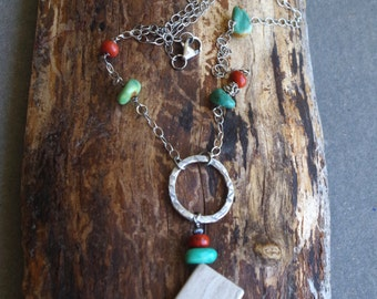 "Boho Sterling Silver necklace **ON SALE** with marble, turquoise and red jasper semi precious stones - 24"" length OOAK"