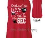 Monogrammed Racerback Tank Top - God Sweet Tea and the SEC