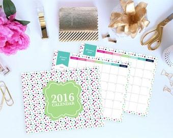 2016 Calendar  - Printable Calendar - 12 Month Calendar -  - Dated - 8.5 x 11in - Instant Download