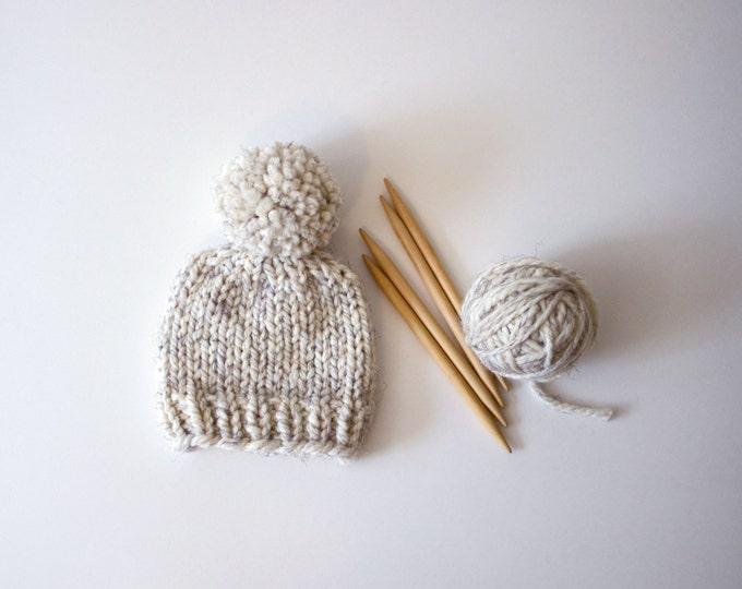 Hand Knitted Newborn Baby Beanie // Neutral Baby Beanie // Baby Beanie With Pom Pom // Chunky Knit Baby Hats // Baby Beanie // Knit Baby Hat