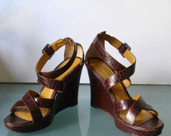 Faux Alligator Wedge Heeled Sandals Size 8M US
