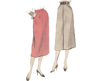 Vogue Skirt Pattern 8290 Waist 28 Front Seam Mid Calf Skirt Concealed Pockets Vintage 1950s Sewing Pattern