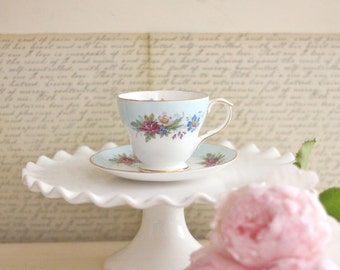 Blue Floral Teacup Set - Vintage English Duchess Fine Bone China Cottage Style Tea Party Shabby Chic