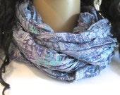 Silk Infinity Scarf, Summer Scarf, Neck scarf