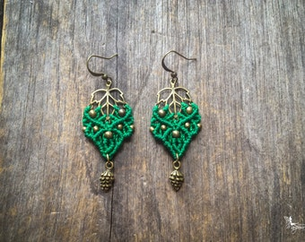 Macrame leaf earrings with pinecone indie bohemian jewelry silver or brass by Creations Mariposa