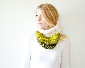 RTS - the SOLOMON cowl - knit cowl scarf chunky scarf - color block - cilantro / lemongrass / fisherman