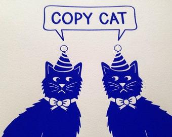 Copy Cat Screenprint by hello DODO, Cat poster, Staffordshire Cats Print, Blue Cat Poster, Funny Screenprint Poster, Animal Art, Cat Lady