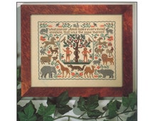 Religious cross stitch pattern, Adam names the creatures, The Prairie Schooler cross stitch pattern, counted, Adam and Eve, animals