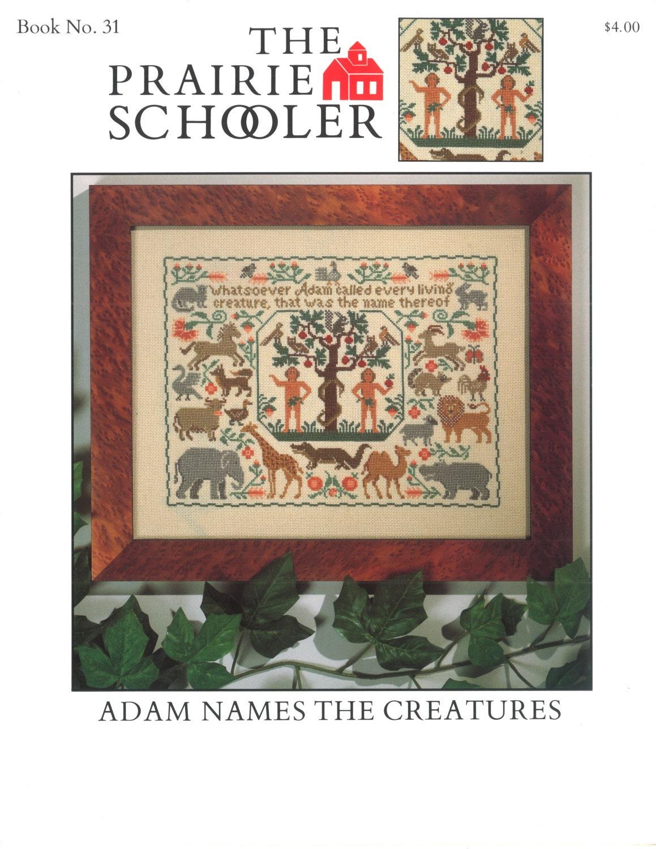 Religious cross stitch pattern adam names the creatures